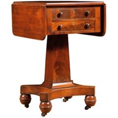 Antique American Empire Side Table with Pedestal Base in Mahogany, circa 1840