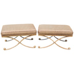 Pair of Metal Leg Upholstered X-Benches