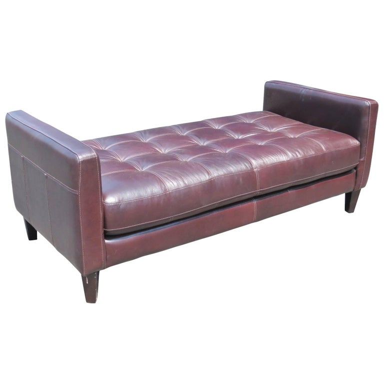 Custom Leather Tufted Bench For Sale At 1stdibs