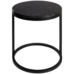 Modern Diana Round Coffee Table in Steel Powder Coated and Marble