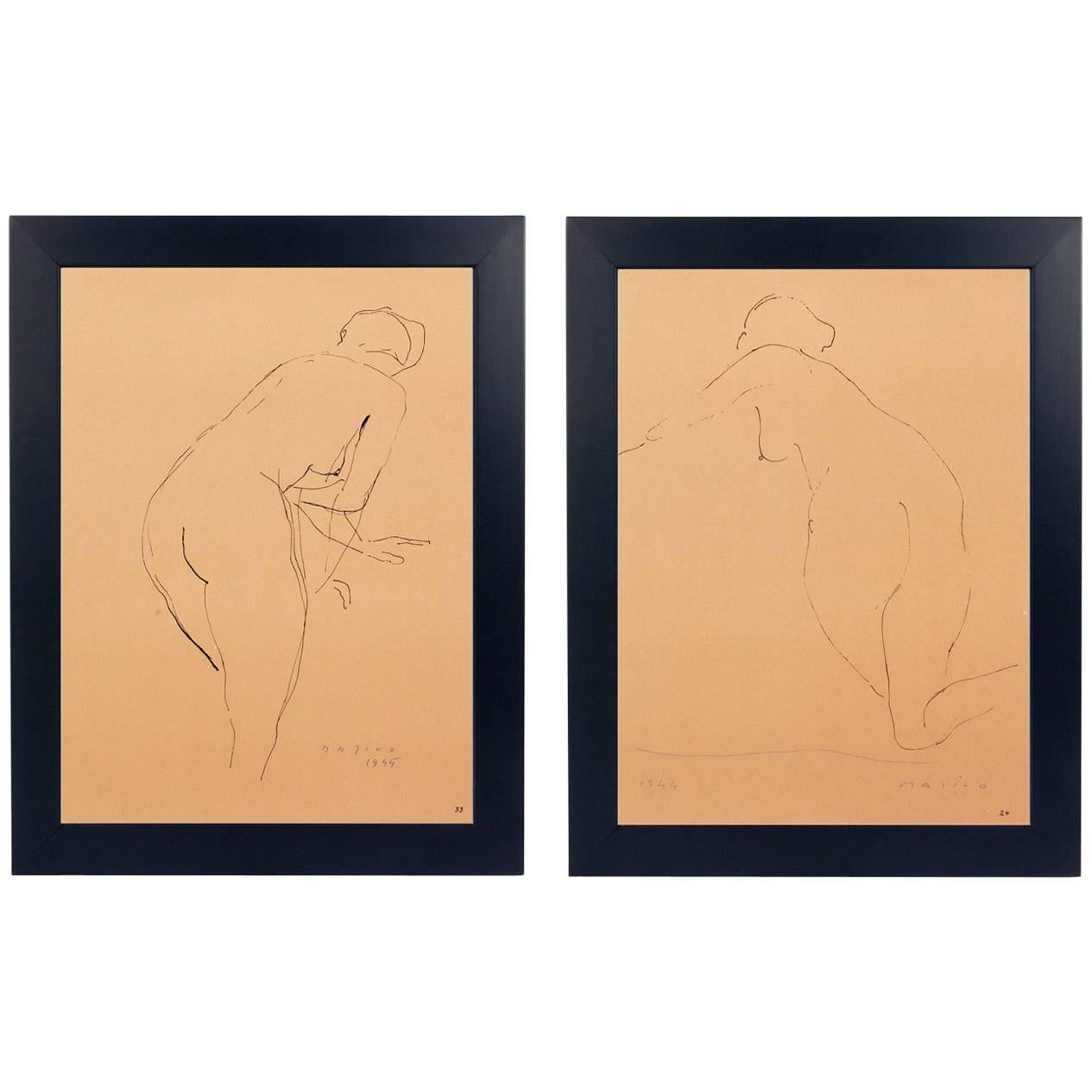 Pair of Female Nude Lithographs by Marino Marini