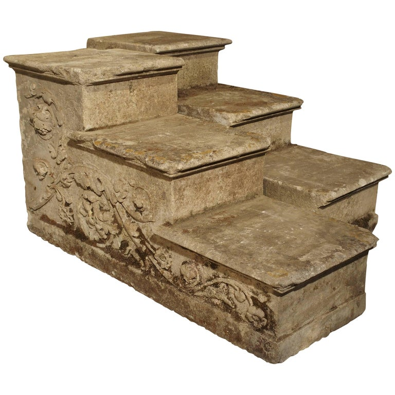 Elegant Pair of Carved Stone Stairs or Stair Ends from a French Property, 1850