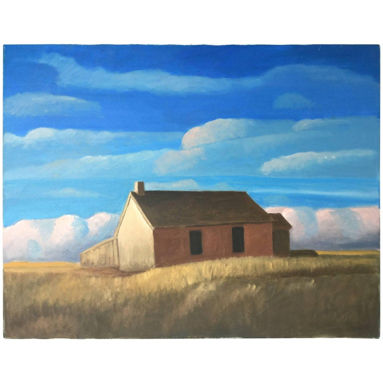 Great Plains Landscape, Oil Painting with Barn