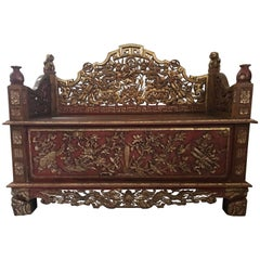 Late 19th Century Chinese Carved Gilt Wooden Sofa