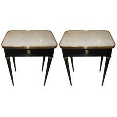 Pair of Ebonized Jansen Marble Top End Tables In The Louis XVI Manner