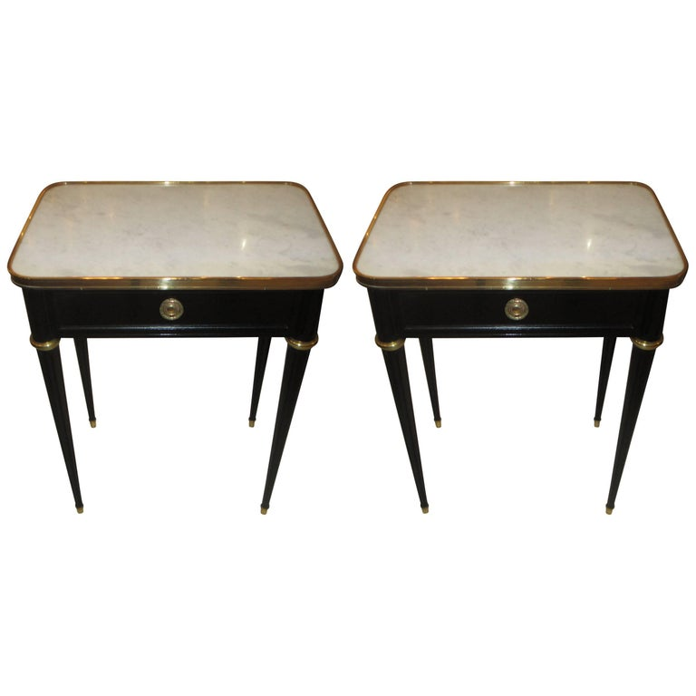 Pair of Ebonized Jansen Marble Top End Tables In The Louis XVI Manner 1