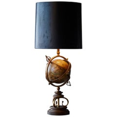 Brass Armillary Table Lamp with Rotating Terrestrial Glass Globe, circa 1940s