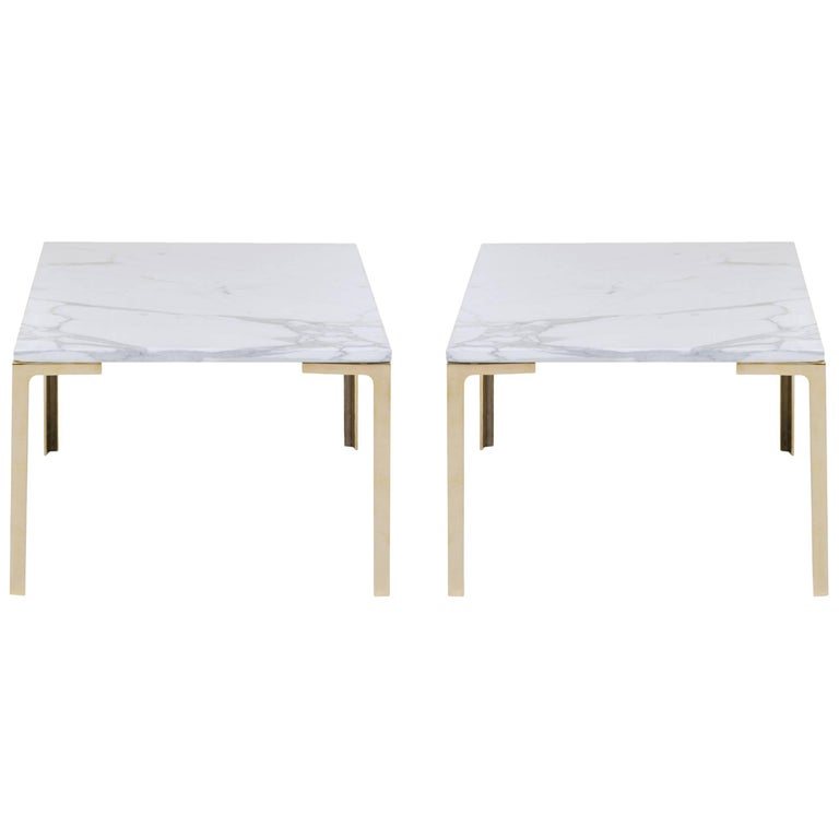 Astor Brass Occasional Tables in Carrara Marble by Montage, Pair