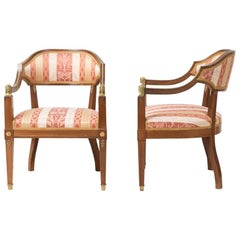 Pair of Empire Style Armchairs in Mahogany