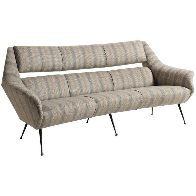 Italian Open Back Wool Sofa, circa 1960
