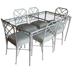 "Brown Jordan ""Calcutta"" Aluminum Rectangular Table with Six Side Chairs"