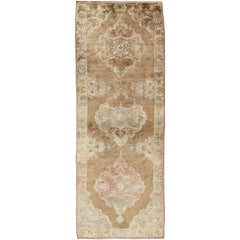 Vintage Turkish Oushak Runner with Floral Medallions in Light Brown and Ivory