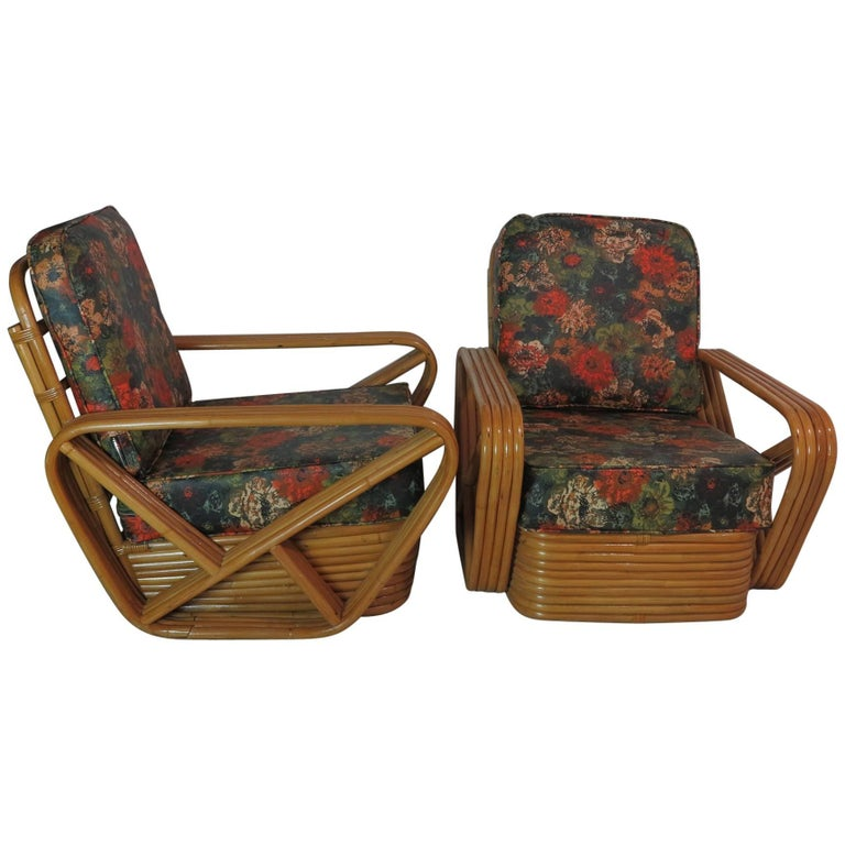 Vintage Rattan Lounge Chairs Style of Paul Frankl