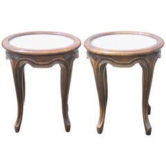 Pair of French Provincial Marbletop Walnut Stands
