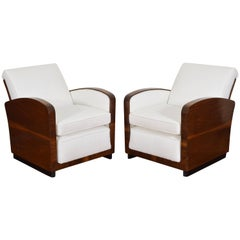 Pair of Italian Art Deco Walnut Veneer and Upholstered Club Chairs, 20th Century