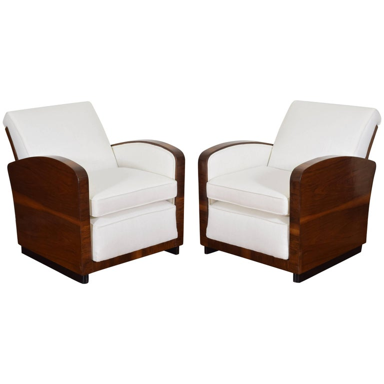 Pair of Italian Art Deco Walnut Veneer and Upholstered Club Chairs, 20th Century For Sale