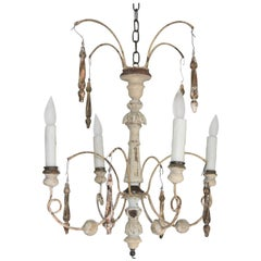 Italian Spider Chandelier Handmade with Antique Altar Elements and Iron