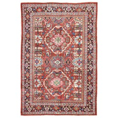 Midcentury Persian Mahal Rug with Dual Medallion Design in Red and Black