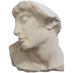 19th Century Italian Carved Marble Bust of a Classical Roman