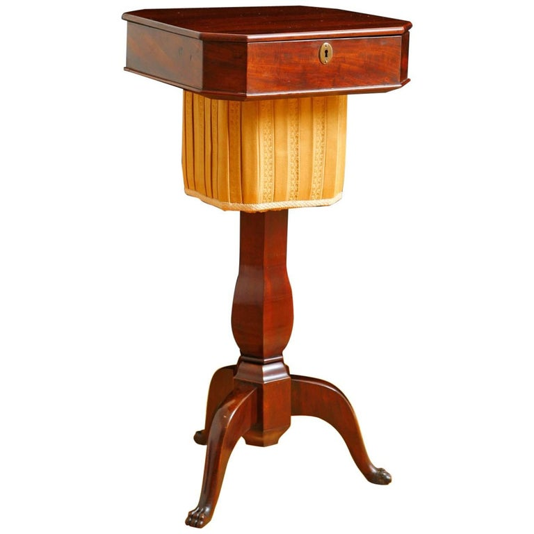 19th Century Biedermeier End Table or Wine Table,  in Mahogany on Pedestal Base For Sale