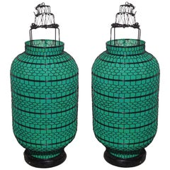 Pair of Asian Green Linen Hand-Wired Linen Lanterns