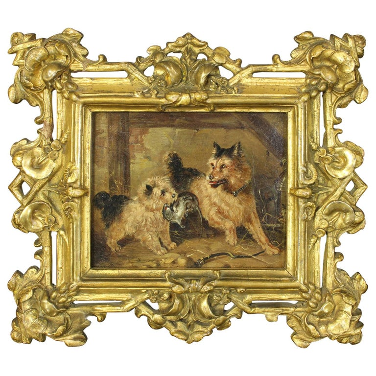 19th Century Oil on Canvas Dog Painting 1