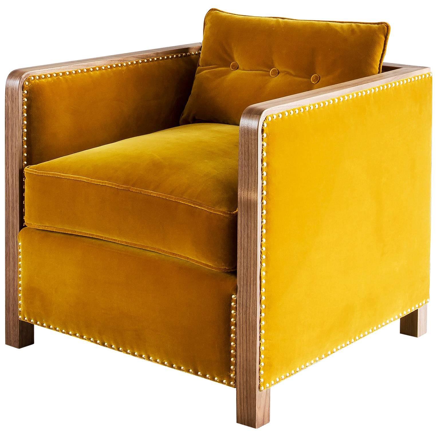 Bacco Armchair in Black American Walnut Luxe Velvet & Brass Studs