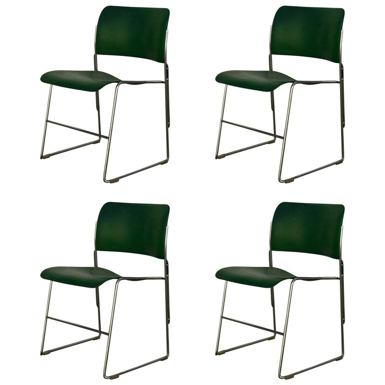 Set of 40/4 Green Chairs by David Rowland 1
