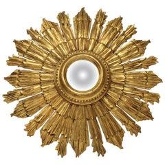 Midcentury Italian Sunburst Convex Mirror