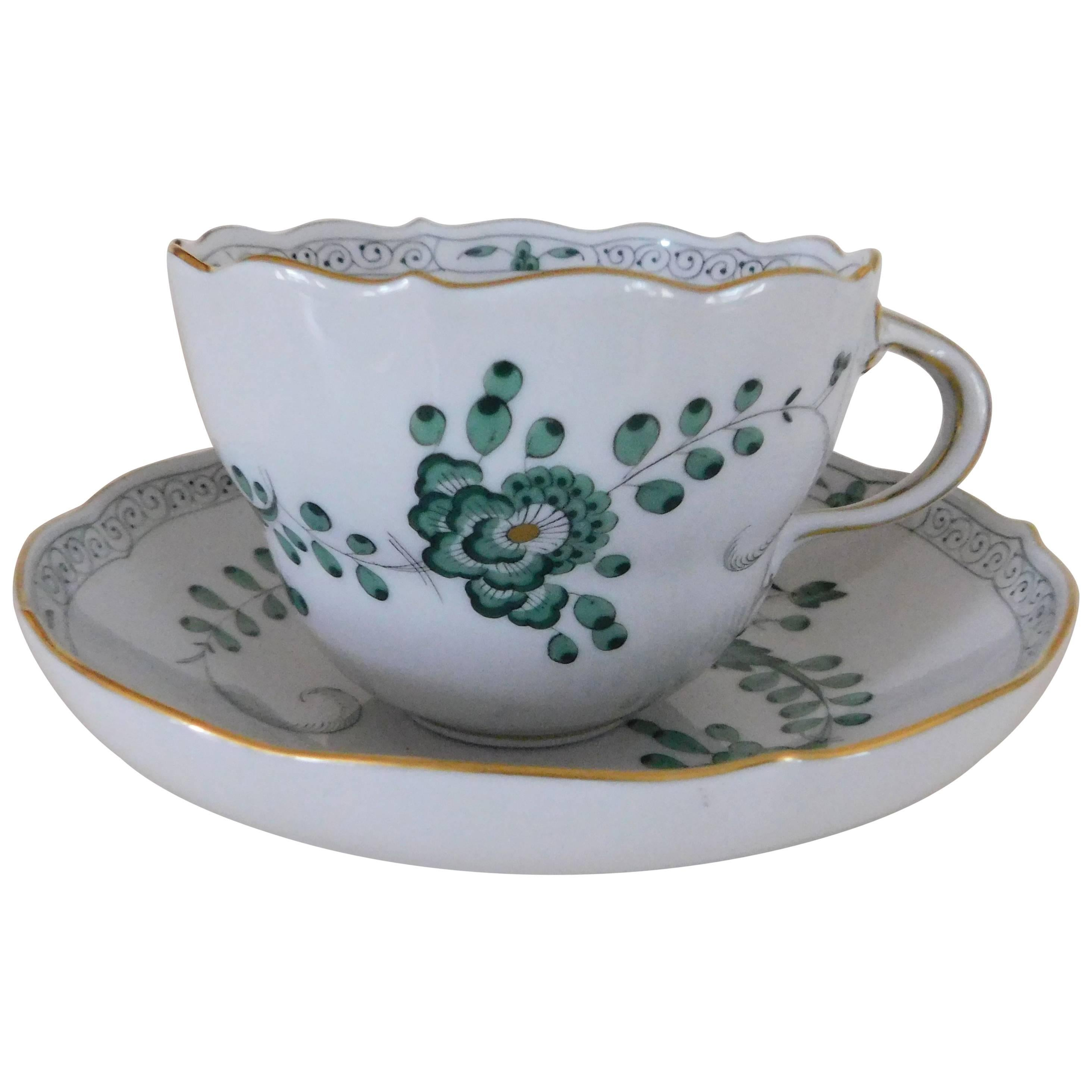 Meissen Porcelain Green Indian Flowers Large Cup and Saucer, 20th Century