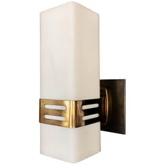 Stilnovo Single Sconce in Opaline Glass and Brass Band, 1950s