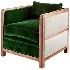 Art Deco Bacco Deconstructed Armchair in Natural Walnut Upholstered with Velvet