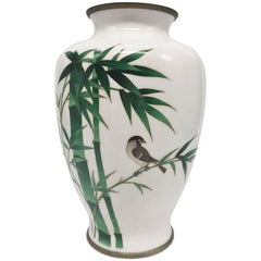 Ando Jubei Cloisonne Vase, Signed, Japanese Cloisonne, Bamboo and Bird