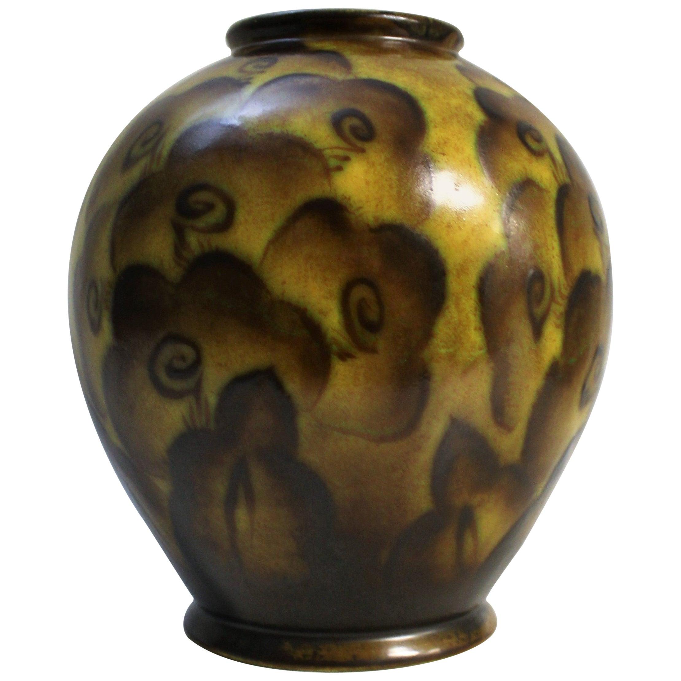 Charles Catteau for Boch Freres Keramis Art Deco Vase