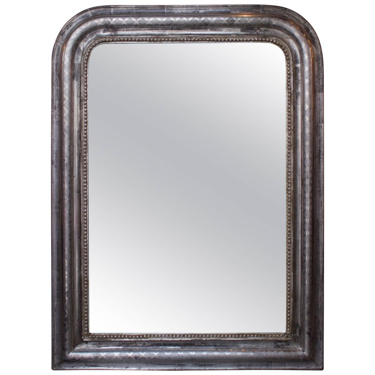 French Silver Louis Philippe Mirror, circa 1840 For Sale