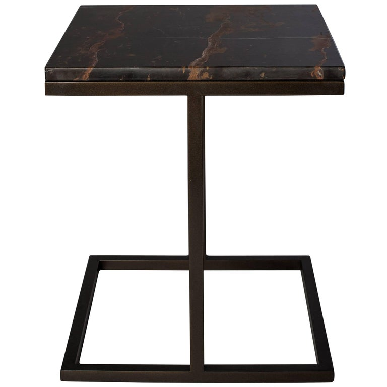 Bacco Squared Coffee Table in Marble and Powder Coated Steel