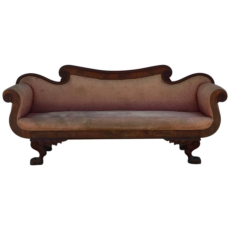 Intricately Carved American Empire Antique Mahogany Settee