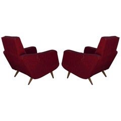 Pair of Comfortable Italian 1950s Club Chairs