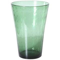 Green Empoli Vase with Clear Bubble Inclusions, circa 1940