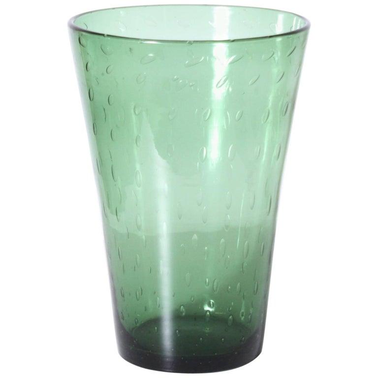 Green Empoli Vase with Clear Bubble Inclusions, circa 1940 1