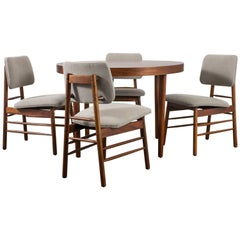 Mid-Century Modern Dining Table with Four Chairs by Greta Grossman