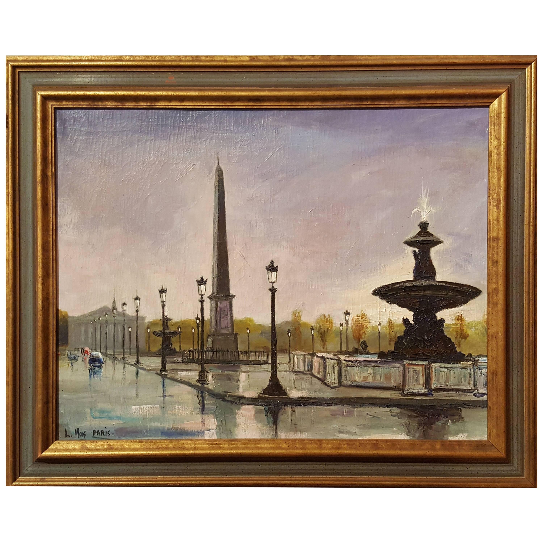 Place de la Concord, Painting by L. Mas