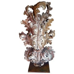 18th Century Mounted French Architectural Fragment with Residual Original Paint