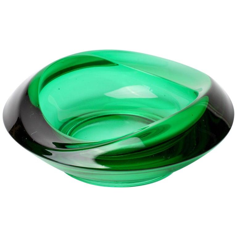 Sklo Union Czech Green Glass Bowl Designed by Rudolf Jurnikl for Rosice Glass