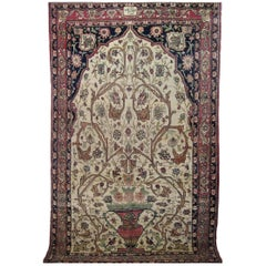 Antique Persian Lavar Meditation Rug, with Prayer Arch and Vases, in Small Size