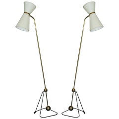 Rare Pair of Floor Lamps, Model of Pierre Guariche, 1970