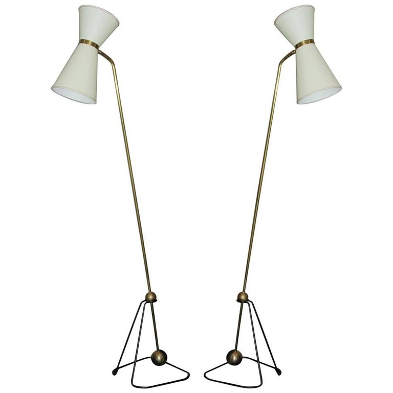 Rare Pair of Floor Lamps, Model of Pierre Guariche, 1970 1