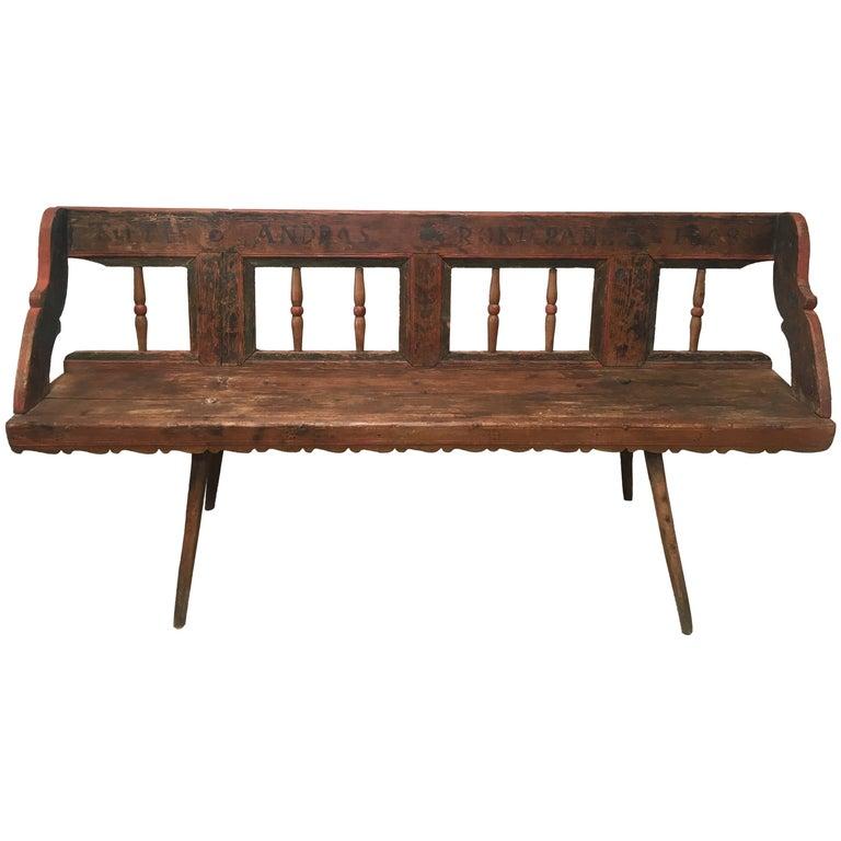 Antique European Bench, 1860s For Sale
