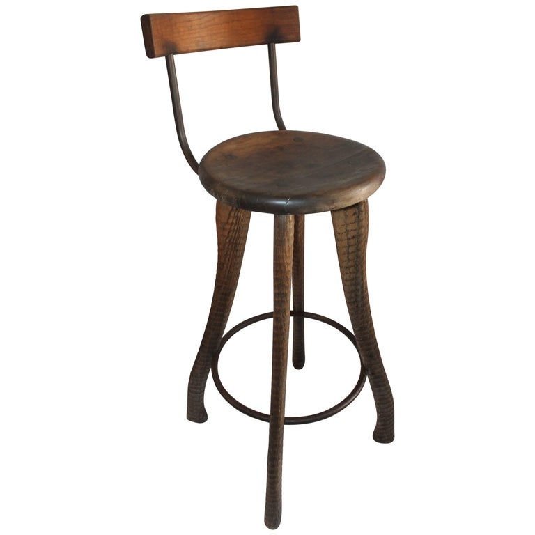 Folky Handmade Industrial Looking Bar Stool For Sale