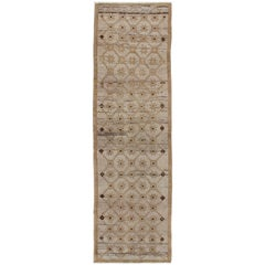 Vintage Turkish Runner with Latticework Design in Cream, Gold & Camel Highlights